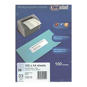 Unistat 多用途標籤 U4455 70 x 25.4毫米 每張33個標籤