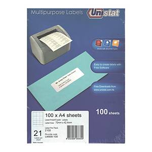 Unistat U4668 Label 70 x 42.3mm - Box of 2100 Labels