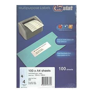 Unistat U4676 Label 105 x 148mm - Box of 400 Labels