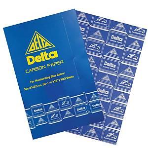 DELTA กระดาษคาร์บอน 21X33 ซม น้ำเงิน 1 แพ็ค 100 แผ่น