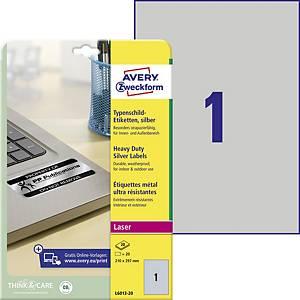 Veľmi odolné polyesterové strieborné etikety Avery L6013, 210x297 mm