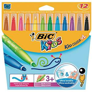 Bic Kids Kid Couleur feutres couleur assorti - la boîte de 12