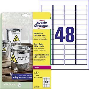 Avery Zweckform wetterfeste Polyester-Etiketten L4778-20, 45,7 x 21,2 mm