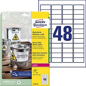 Etiketten Avery Zweckform L4778, 45,7x21,2mm, wasserfest, Packung à 960 Stück