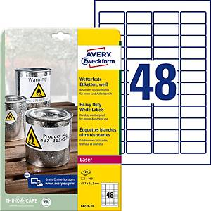 Étiquettes Avery Zweckform L4778,45,7x21,2mm,résis.intempéries et eau,960unités