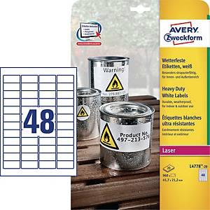 Polyesteretiketter Avery, 45,7 x 21,2 mm, hvid, æske a 960 stk.