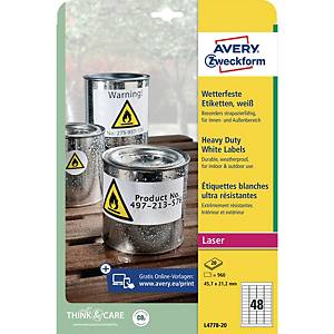 BX960 AVERY L4778-20 LASER LABELS