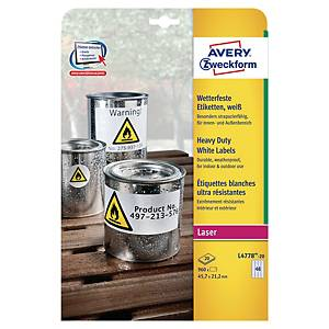 Avery L4778 weerbestendige etiketten, wit