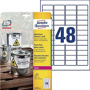 Etykiety Heavy Duty Avery Zweckform, 45,7 x 21,2 mm, białe, 960 etykiet