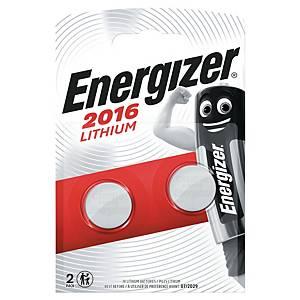 Knapcelle batterier Energizer Lithium CR2016, 3V, pakke a 2 stk.