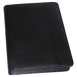 Monolith 2924 conference folder leather with zip and ring binder black