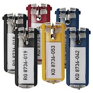 Breloczek do kluczy DURABLE z etykietą, miks kolorów, 6 sztuk w opakowaniu