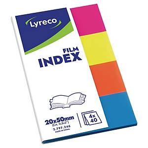 Lyreco film jelölőlap, 19 x 43 mm, vegyes neon színek, 200 db/csomag