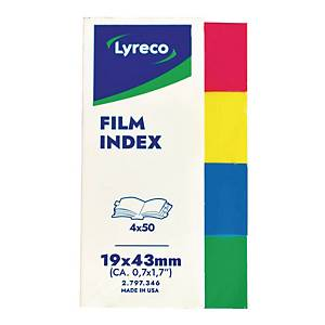 Lyreco 4 Assorted Colour Film Index File Dividers 19 X 43MM