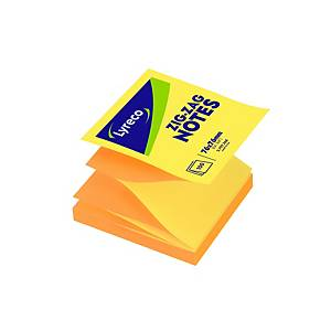 Sticky Notes Lyreco ZigZag, 76 x 76 mm, gul/orange