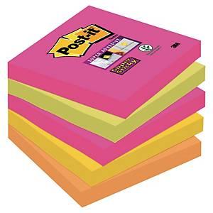 3M Post-it® 654S Super Sticky öntapadó jegyzettömb 76x76mm, színes, 5 tömb/90 la