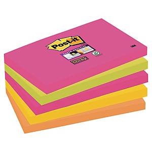 Haftnotizen Post-it Super Sticky 655S-N, 127 x 76 mm, 5 x 90 Blatt, farbig
