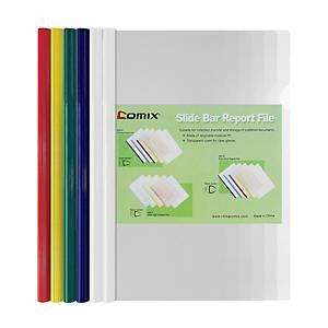 COMIX แฟ้มสันรูด Q-310 A4 สัน 6 มม. แพ็ค 6 เล่ม คละสี