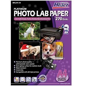 HI-JET กระดาษโฟโต้อิงค์เจ็ท แบบกึ่งมันกึ่งด้าน A4 270 แกรม 1 แพ็ค 10 แผ่น