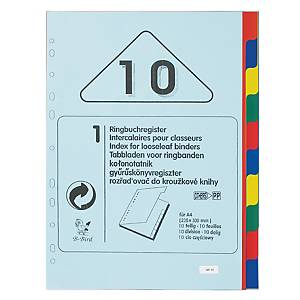 B-BIRD NK10 Plastic Paper Divider Index A4 10 Tabs 4 Colours