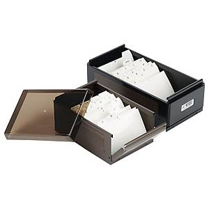 POWER STONE PS660 BUSINESS CARD BOX FOR 600 CARDS DARK BROWN