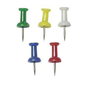 E510 PUSH PINS ASSORTED COLOURS - PACK OF 100