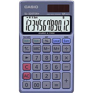 Calculatrice de poche Casio SL-320TER+, affichage de 12chiffres, bleu