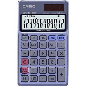 Calcolatrice tascabile Casio SL-320TER, visualizzazione 12 cifre, blu