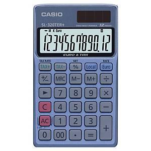 Miniräknare Casio SL-320-TER+, blå/svart, 12 siffror