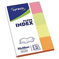 Index Papier Lyreco 20x50 mm, 50 feuilles, ass., emballage de 4 pièces