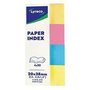 Lyreco Paper Index 20X38mm Pack of 4 Assorted Colours
