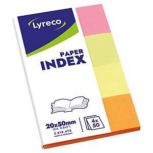 Marcapáginas de papel Lyreco - varios colores - 20 x 38 mm