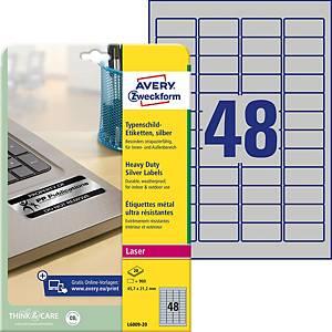 Étiquettes Avery Zweckform L6009,45,7 x 21,2mm, plaque signal., arg., 960unités