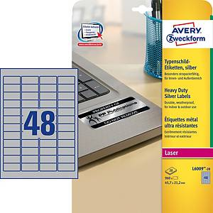 Avery L6009-20 Resistant Labels, 45.7 x 21.1 mm, 48 Labels Per Sheet