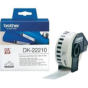 Rollo de etiquetas Brother DK 22210 - 29 mm x 30,48 m - negro sobre blanco