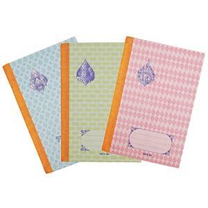 สมุดบันทึกปกกระดาษแข็งพิมพ์ลายไทย 165X245มม. 55 แกรม 70 แผ่น แพ็ค บรรจุ 6 เล่ม
