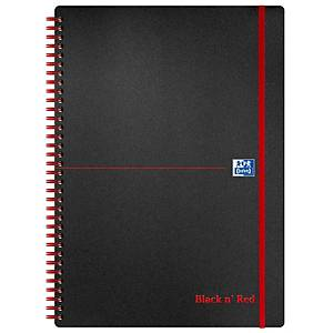 Oxford Black n  Red A4 Poly Cover Wirebound Notebook Ruled 140 Pages Black