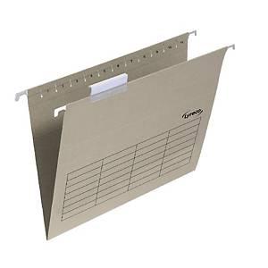 Dossiers suspendus Lyreco pour tiroirs, folio, fond V, kraft, les 25 pièces