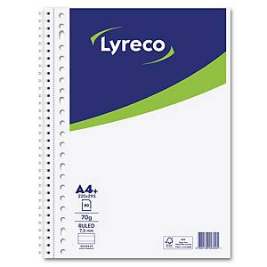 Lyreco collegedictaat spiraalschrift, A4+, gelijnd, 80 vellen, 23 perforaties