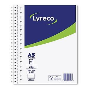 Lyreco collegedictaat spiraalschrift, A5+, gelijnd, 80 vellen, 17 perforaties