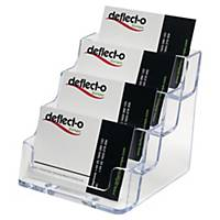 Deflecto visitekaarthouder, A8, 4 vakken voor elk 50 kaartjes, transparant