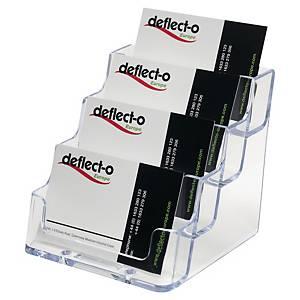Visitkortsställ Deflecto, 4 fack, transparent