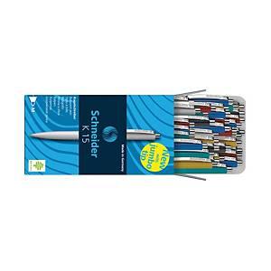 Kuličkové pero Schneider K15, klikací, modré, mix barev, 50 ks/bal
