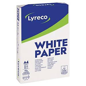 Papier Lyreco A4, 80g/m2, 4 trous perf., blanc, boîte 5x500 feuilles