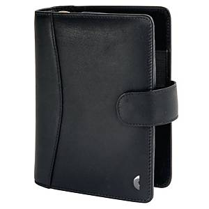 Ringbuch Chronoplan 50174 Standard Midi Compact, Vollrindleder, schwarz