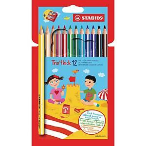 Crayons de couleur Stabilo® Trio, le pack de 12 crayons