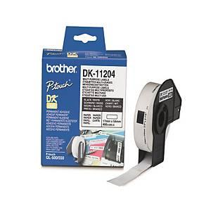 Univerzální etikety Brother, 17 x 54 mm, bílá, 400 kusů/balení