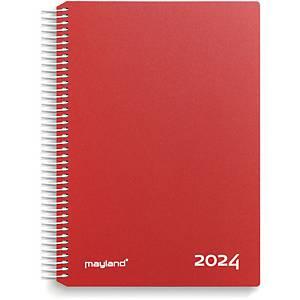 Kalender Mayland 2180 10, dag/time, 2020, 16,8 x 23,5 cm, rød