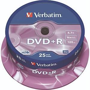 DVD+R Verbatim 43500, 4,7GB, Schreibgeschwindigkeit: 16x, Spindel, 25 Stück