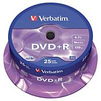 Verbatim DVD+R, 4,7 GB, 120 perc, 16x, standard, 25 darab/adagoló
